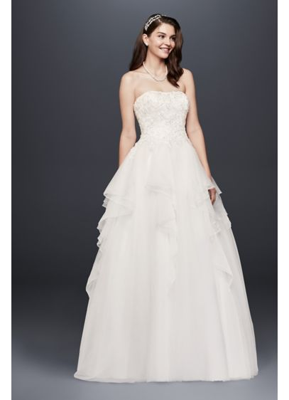 e1689ddd9e1 Tulle Wedding Dress with 3D Floral Appliques