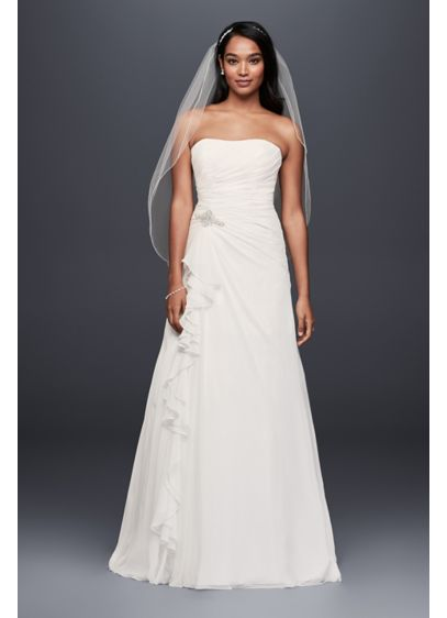 Chiffon A-Line Wedding Dress with Crystal Detail - A soft and effortlessly beauitful look for your