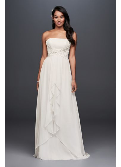 28bffc14 Pleated Chiffon Sheath Wedding Dress with Beading | David's Bridal