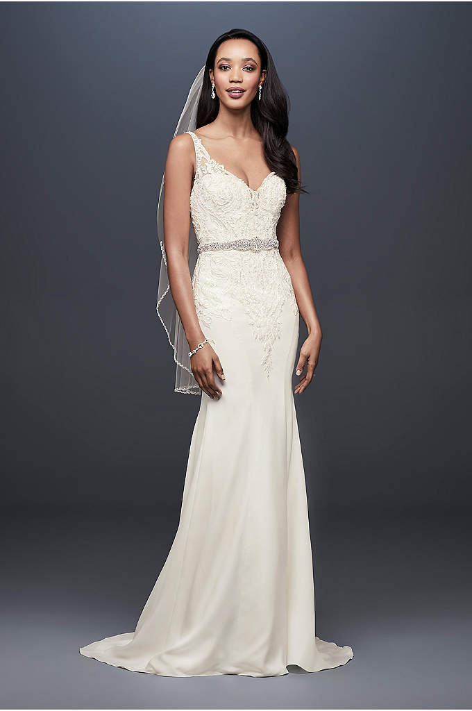 Crepe Mermaid Wedding Dress with Metallic Embroide - This crepe mermaid wedding dress follows your figure