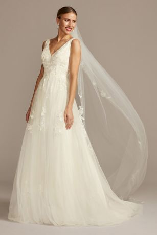Mikado And Tulle V Neck Ball Gown Wedding Dress David S Bridal