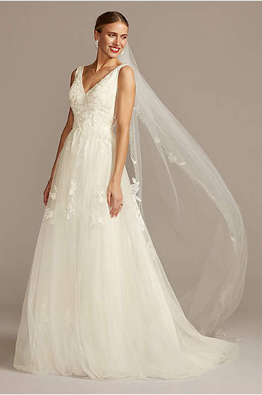 Mikado and Tulle V-Neck Ball Gown Wedding Dress