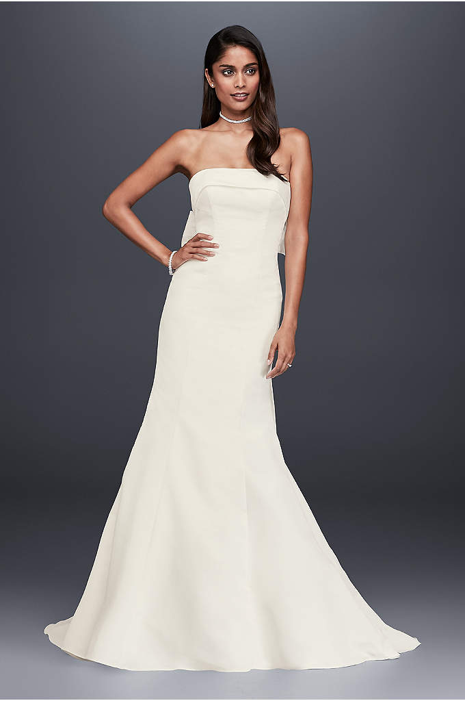 Faille Mermaid Wedding Dress with Bow Back - Sleek and chic, this faille wedding dress is