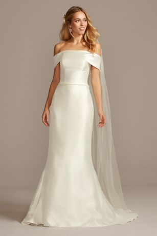 Off The Shoulder Mikado Trumpet Wedding Dress David S Bridal