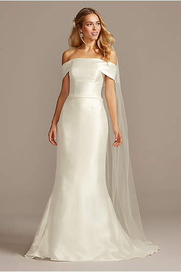 Off-the-Shoulder Mikado Trumpet Wedding Dress