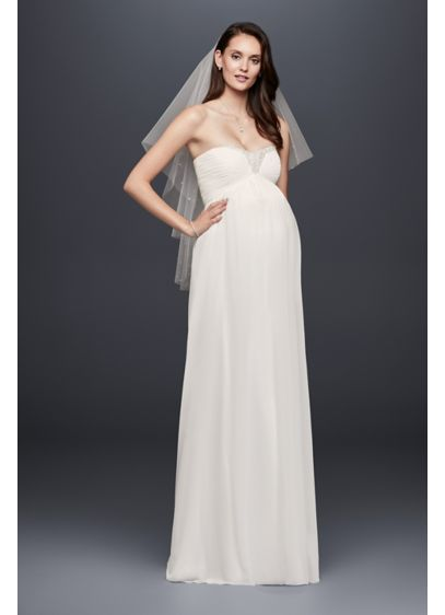 b3eb9f9579619 Beaded Chiffon Maternity Wedding Dress - Flowy and flattering, this  strapless chiffon maternity wedding