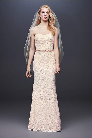 Guipure Lace Sheath Wedding Dress with Ribbon Sash