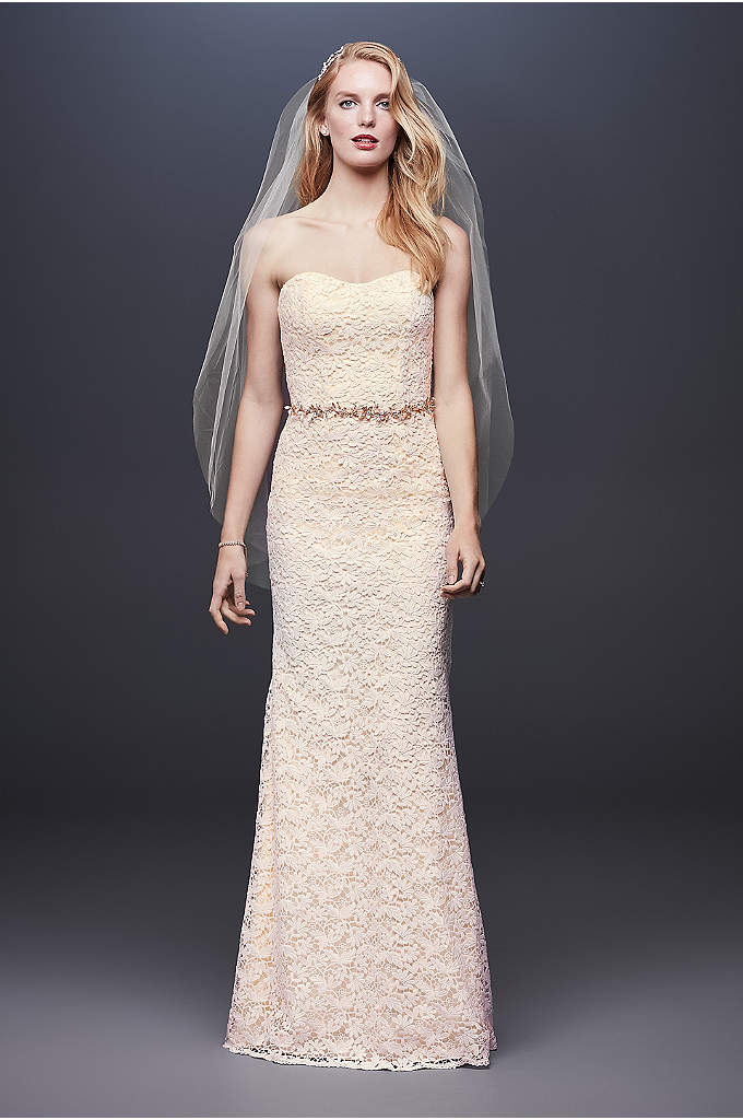 Guipure Lace Sheath Wedding Dress with Ribbon Sash - Fresh, pretty, and perfect for any wedding, this
