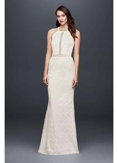 Floral Lace Racerback Sheath Wedding Dress David S Bridal