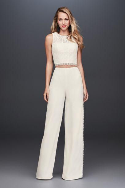 Lace Crop Top And Crepe Wide Leg Pants David S Bridal