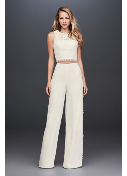 Long Jumpsuit Boho Wedding Dress - Galina