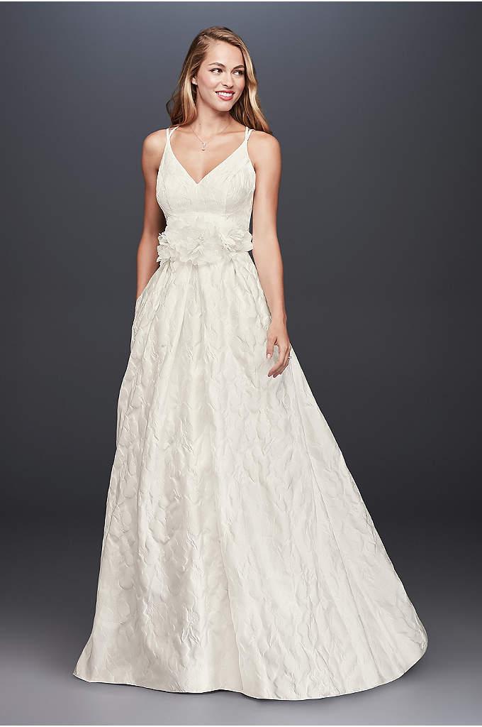 Floral Jacquard A-Line Wedding Dress - Textured floral jacquard is an unexpected wedding dress
