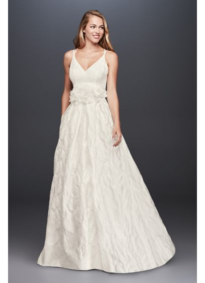 Floral Jacquard A-Line Wedding Dress - Textured floral jacquard is an unexpected wedding dress