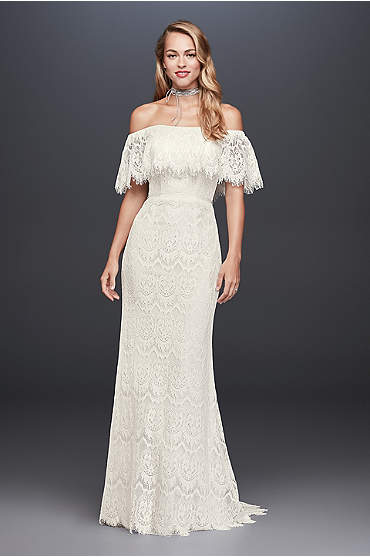 Bride wearing Off-The-Shoulder Eyelash Lace Sheath Wedding Dress