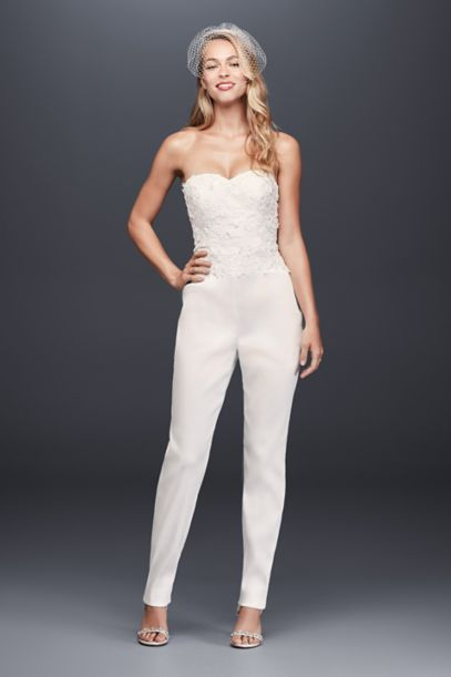 Strapless Mikado Bridal Jumpsuit With 3d Flowers Davids Bridal