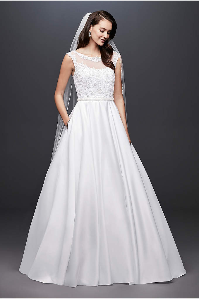Satin Cap Sleeve Ball Gown Wedding Dress - Simply beautiful, this satin ball gown features an