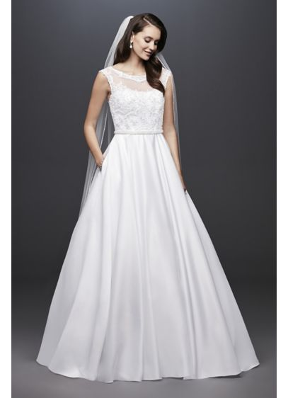 Satin Cap Sleeve Ball Gown Wedding Dress | David\'s Bridal