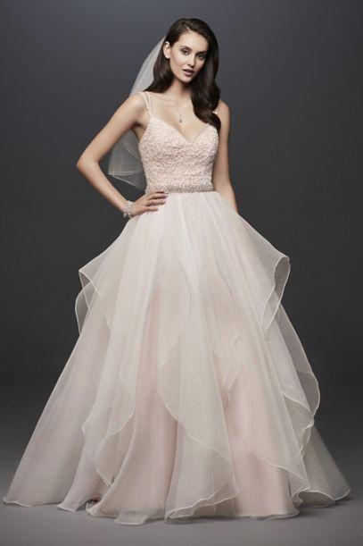 garza ball gown wedding dress with double straps davids
