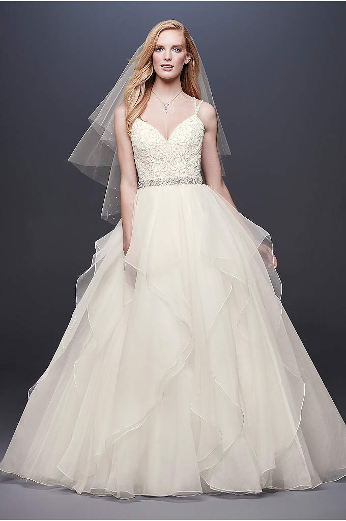 Garza Ball Gown Wedding Dress with Double Straps - This Garza ball gown features an encrusted ballerina