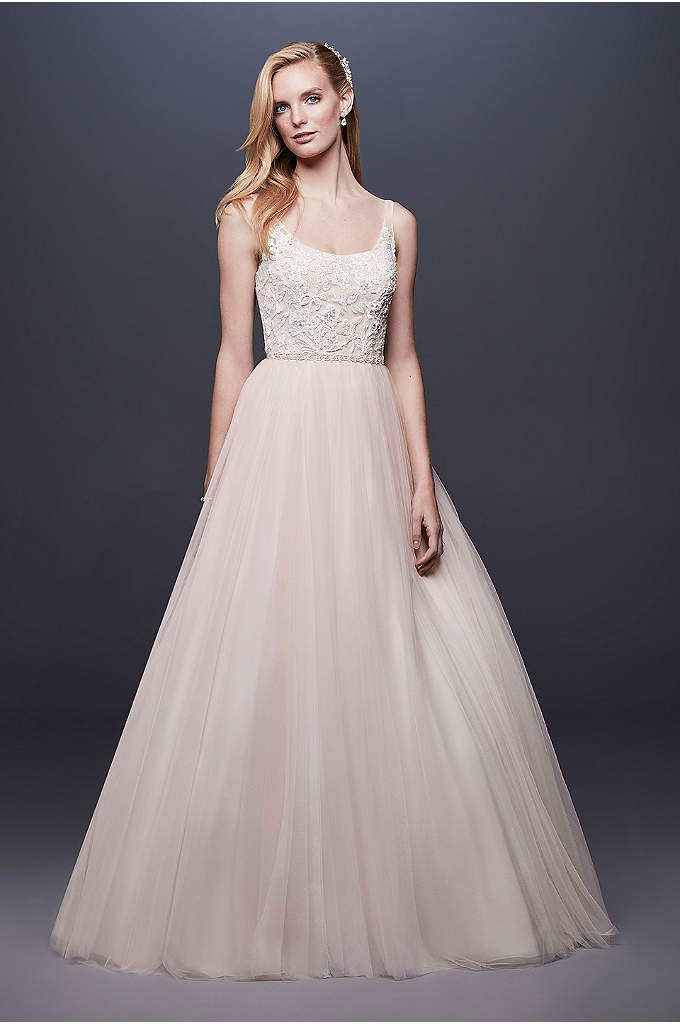 Lace and Tulle Beaded Ball Gown Wedding Dress - A skirt crafted of tulle, netting, and crinkle