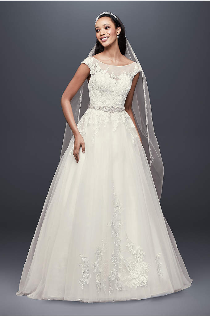 Tulle and Lace Cap Sleeve A-Line Wedding Dress