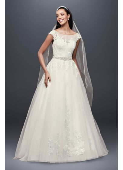 4c37fc63ba14 Tulle and Lace Cap Sleeve A-Line Wedding Dress | David's Bridal