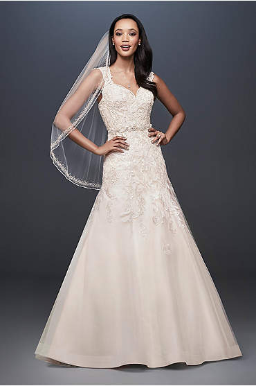 Tulle Cap Sleeve Mermaid Wedding Dress