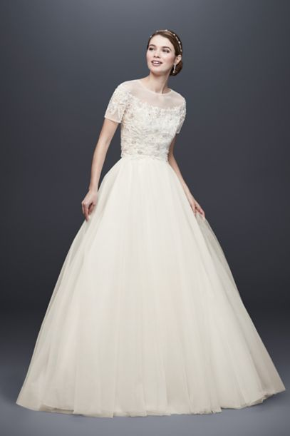 Short Sleeve Tulle Ball Gown With Removable Topper