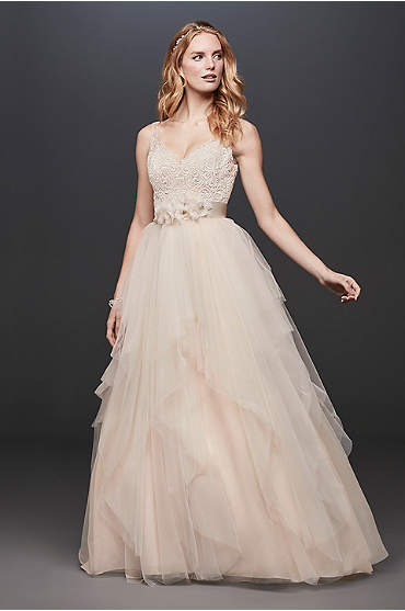 Bride wearing a Tulle Tank V-Neck Ball Gown with Layered Skirt