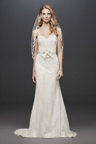 Allover Lace Tank Sheath Wedding Dress | David's Bridal | Tuggl