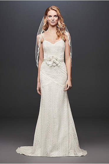 Bride wearing Allover Lace Tank Sheath Wedding Dress