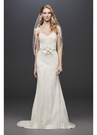 Allover Lace Tank Sheath Wedding Dress - Thoughtfully placed appliques at the waist, hips, and