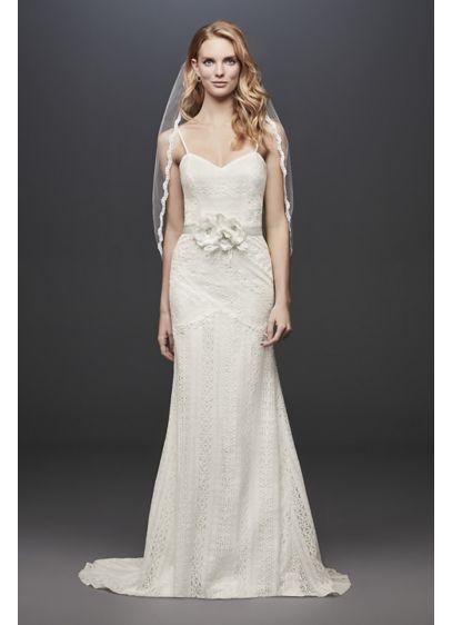 9928ac0d Allover Lace Tank Sheath Wedding Dress | David's Bridal