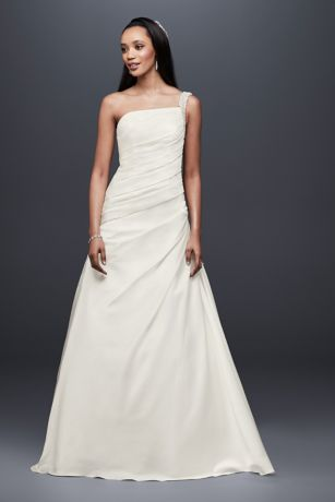 141c1370096 Draped Satin One-Shoulder A-Line Wedding Dress