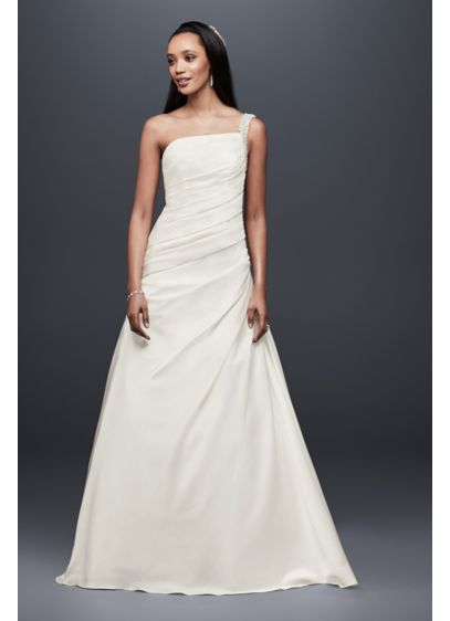Draped Satin One-Shoulder A-Line Wedding Dress - Beautifully draped satin makes this one-shoulder wedding dress