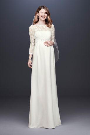34 sleeve crepe sheath maternity wedding dress davids bridal junglespirit Images