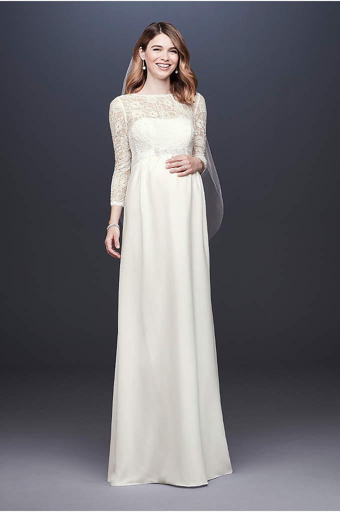 3/4 Sleeve Crepe Sheath Maternity Wedding Dress - An elegant sheath maternity wedding dress, crafted of