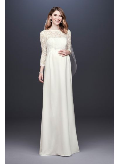 3/4 Sleeve Crepe Sheath Maternity Wedding Dress - An elegant sheath maternity wedding dress, crafted of