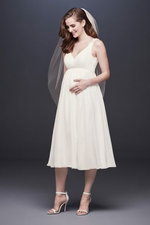 cute cheap attractive price cute cheap Tea-Length Chiffon V-Neck Maternity Wedding Dress | David's Bridal