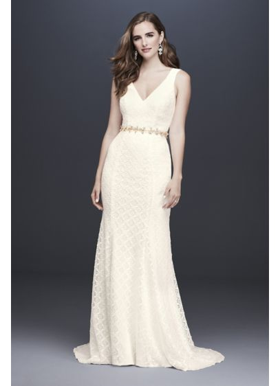 Geometric Lace V-Neck Sheath Wedding Dress - Crafted of geometric lace, this sheath wedding gown