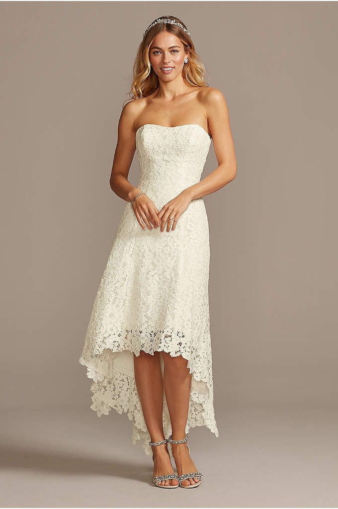 High-Low Tea-Length Corded Lace Wedding Dress - Choose your wedding shoes with extra-special care: crafted