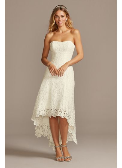High Low Tea Length Corded Lace Wedding Dress