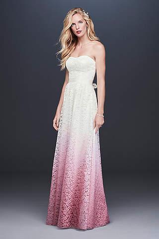 Vestido de Novia en Línea A de Encaje en Color Degradado