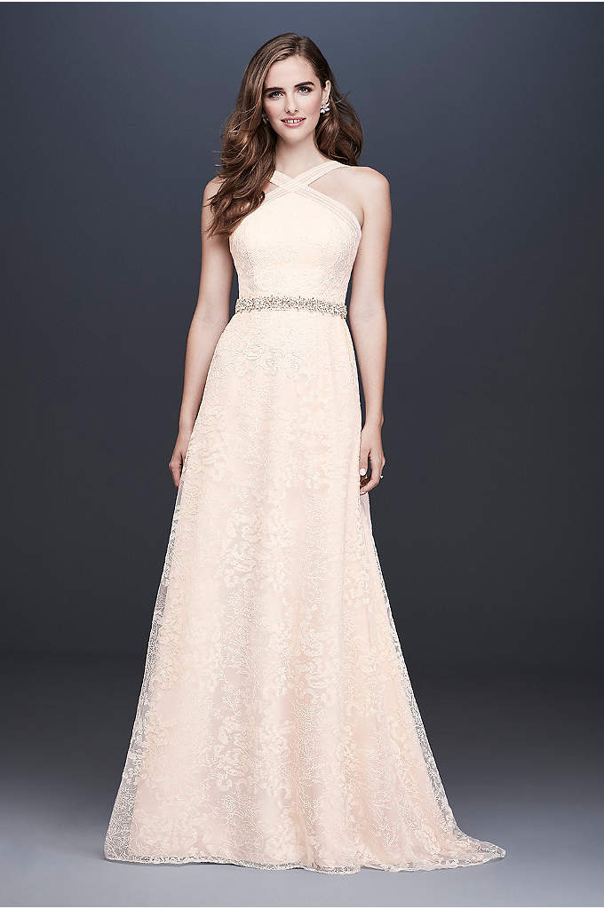 Allover Embroidered Lace Y Neck Wedding Dress Nature Inspired Motifs Give