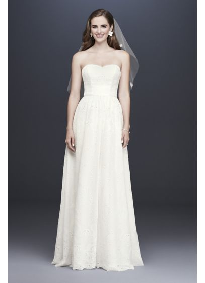 Chiffon Eyelet A-Line Wedding Gown - Soft and flowing, this light and airy A-line