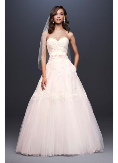 Lace Ball Gown Wedding Dress with Banded Skirt - This sweet ball gown wedding dress features a