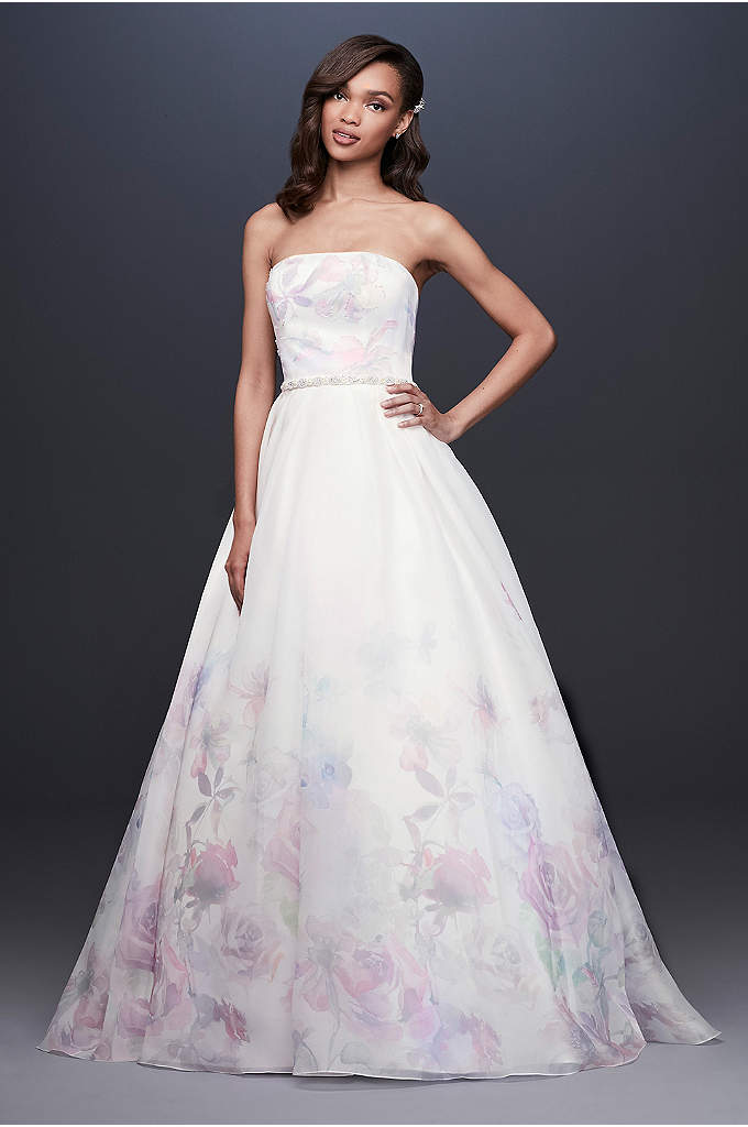 Floral Watercolor Organza Ball Gown Wedding Dress - For the bride who embraces tradition with a