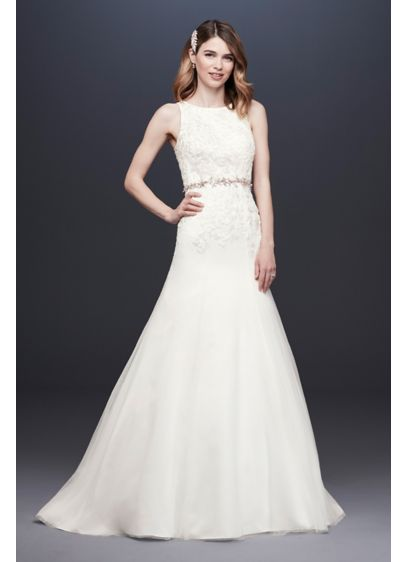 Lace Tank Mermaid Wedding Dress with Keyhole Back - The high neckline and cutaway tank straps of