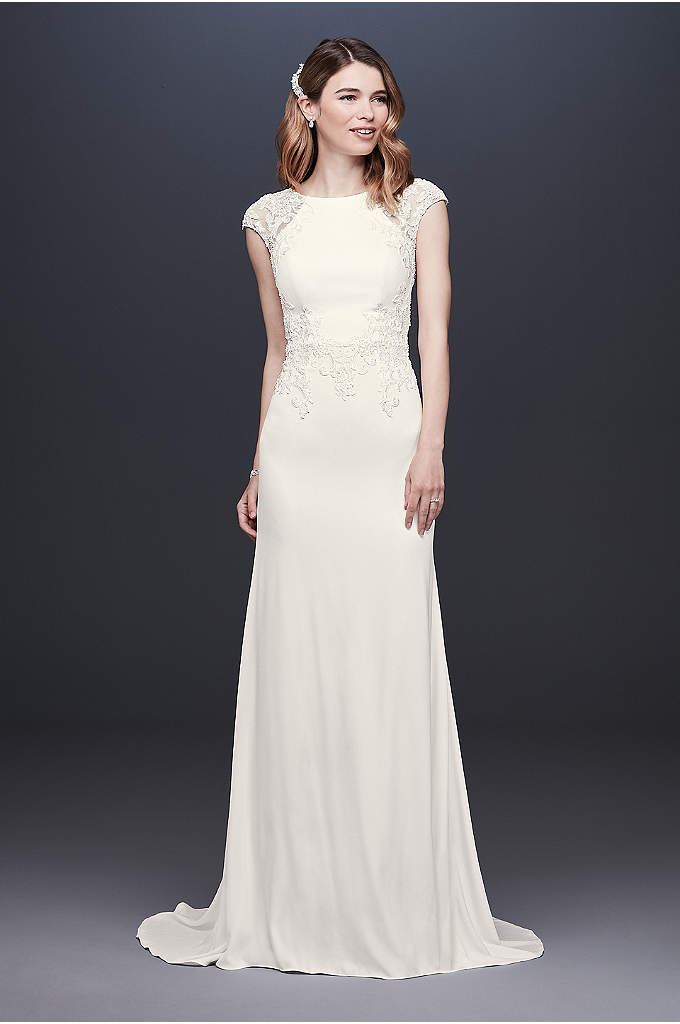 Cap Sleeve Crepe Sheath Wedding Dress - This high-neck crepe sheath features illusion lace cap