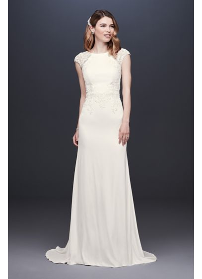 Cap Sleeve Crepe Sheath Wedding Dress - This high-neck crepe sheath features illusion lace cap